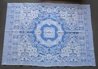 Piqué de coton Bleu/blanc Jeté de lit, nappe, etc
