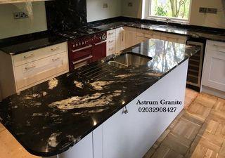 Black Marinace Granite Kitchen Worktop in London