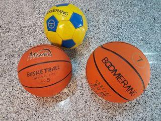 Pelotas de basket y balon de futbol