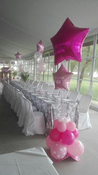 decoracion con globos comunion, bautizo, boda