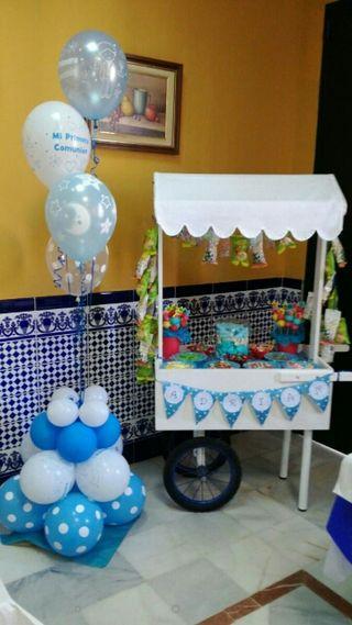 carrito de chuches para boda, comunión, bautizo,