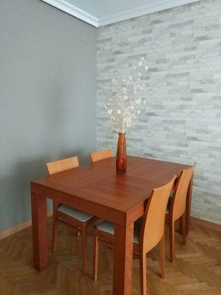 Mesa comedor 135x90cm extensible, madera cerezo