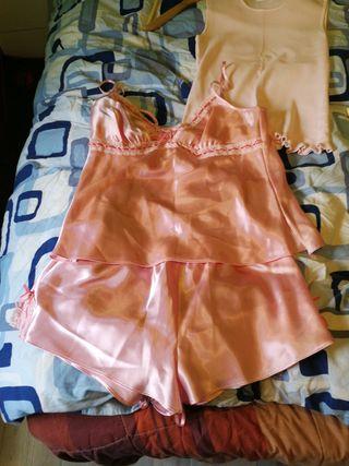 conjunto pijama de raso de el corte inglés talla M
