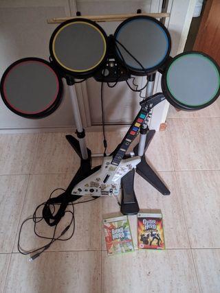 Bateria, guitarra band hero / guitar hero xbox 360