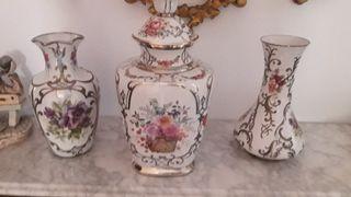 jarron porcelana y plata