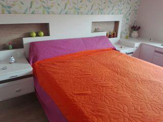 Colcha bicolor cama matrimonio