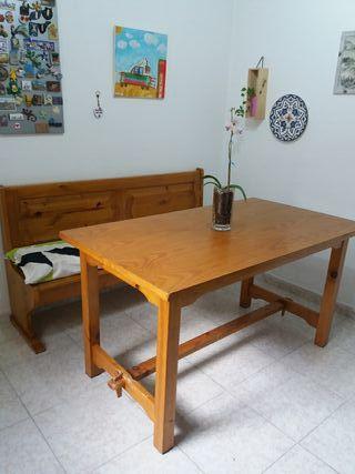 mesa y banco cajonera