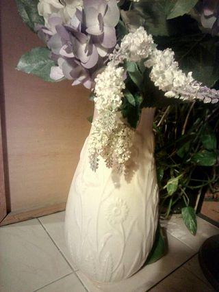 Jarron grande porcelana flores blanco