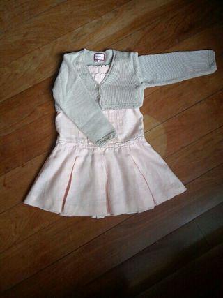 Vestido niña Tizzas t 4/5 + chaqueta y bailarinas.