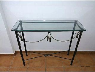 mesa recibidor de forja y cristal