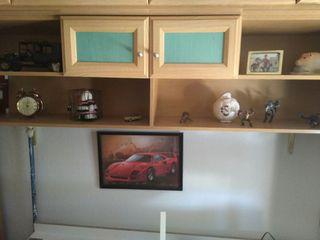 conjunto de armario roble claro y cama 190x90