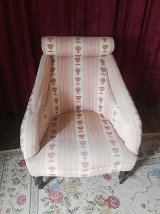 butaca sillon estilo ingles tela y madera