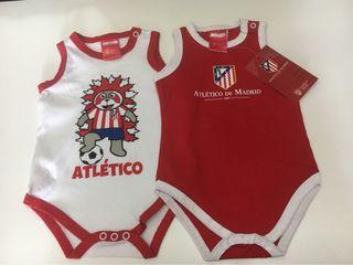 Lote de 2 bodies bebé ATLÉTICO DE MADRID Nuevos...