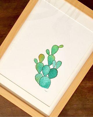 Dibujo en acuerla Cactus
