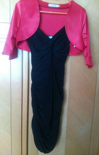 Vestido rojo con bolero negro