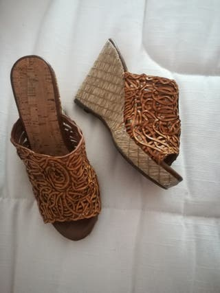 sandalias rafia