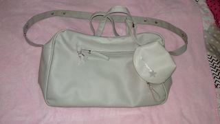 bolso cambiador y portachupetes gris
