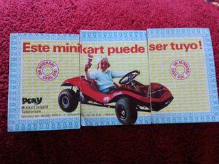 3 cromos sorteo Minikart bimbo Tigreton 1972