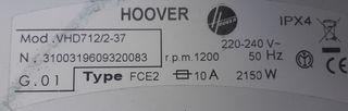 Lavadora de Otsein Hoover VHD712 7kg 1200rpm