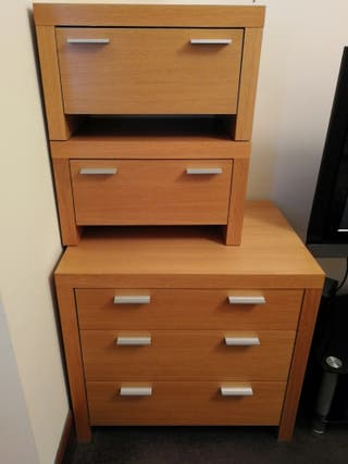 Set of drawers + 2 bed side tables