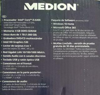 Ordenador MEDION I5 4GB RAM 1TB