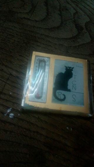 imán para nevera gato negro con termómetro