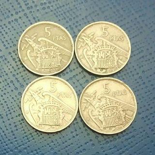 1957 Monedas correlativas 5 pesetas Franco