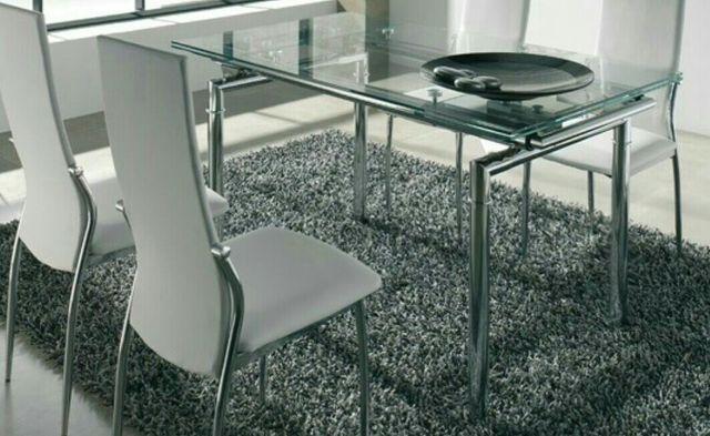 Mesa salón comedor cristal y acero inox. de segunda mano por 399 ...