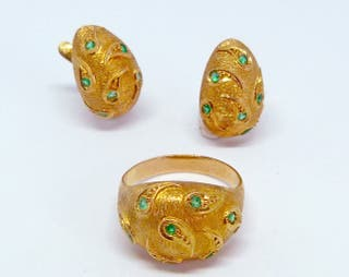 Conjunto de anillo y pendientes Vintage
