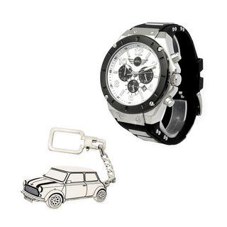 Conjunto de Reloj y Llavero de Plata del Mini