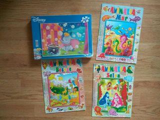 lote de 5 puzzles y 3 cuadernos de pegatinas