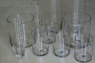 Floreros de cristal, distintas medidas