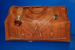 Maleta de cuero piel vintage-maleta de mano