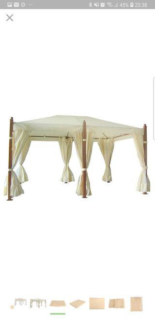 Cenador aluminio imitacion madera 4 x 3