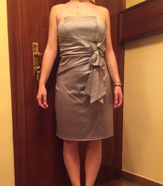 Vestido de fiesta boda gris palabra de honor