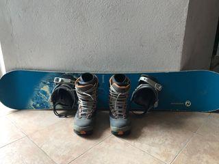 Tabla snowboard botas y fijacion con funda