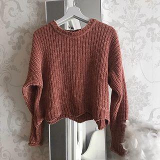 Jersey chenilla rosa Zara