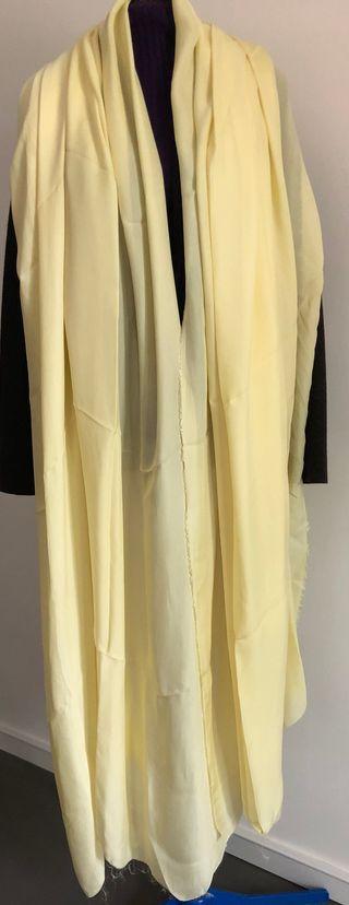 Tissu voile de soie Jaune paille 3 mètres x 150 cm