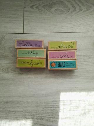 6 sellos de madera para scrapbook nuevos