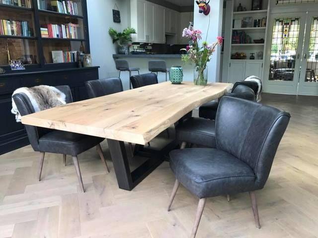 Mesas de comedor vintage madera maciza patas metal de segunda mano ...