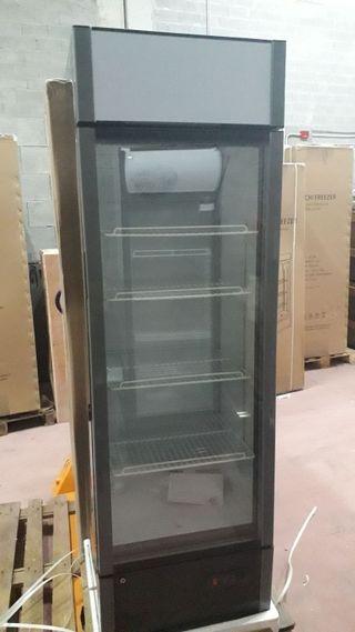 armario refrigerado 1puerta de cristal negro 340l