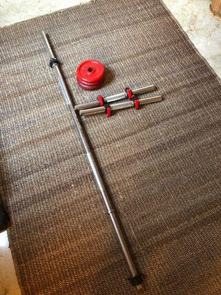 Barras y discos para hacer pesas