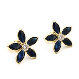 Pendientes oro zafiros y diamantes diseño flor