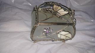 Glass butterfly jewel encrusted jewel box