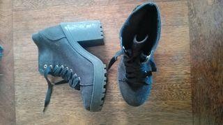 botas tacon plataforma negras tela