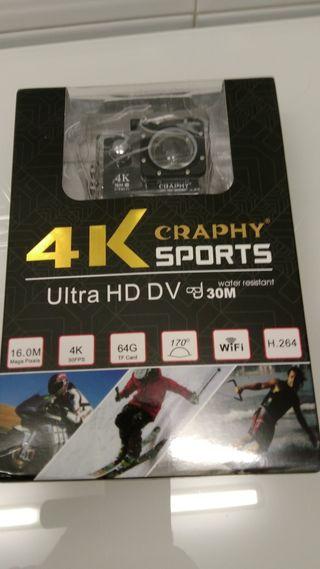 camara deportes 4k. nueva con accesorios