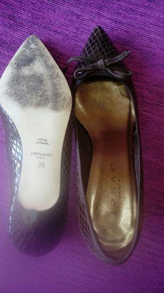 Zapatos de piel marrón chocolate num 36.