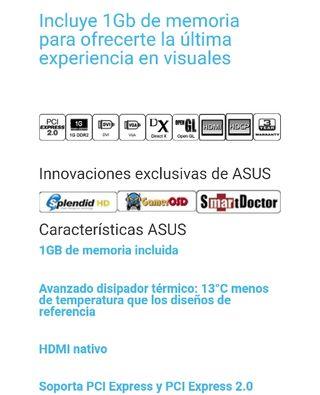 Tarjeta gráfica Asus GeForce 9500GT 1GB GDDR2