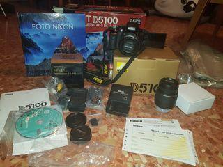 nikon D5100+objetivo 35mm+extras reflex nueva