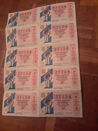 billete de lotería de 26 de junio 1982